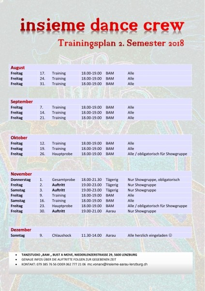 Trainingsplan 2. Semester 2018